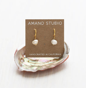 FRESH WATER PEARL HUGGIE EARRINGS