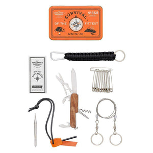 OUTDOOR SURVIVAL KIT WITH  TOOLS LAID OUT