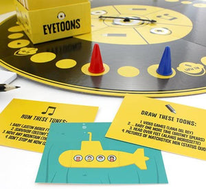 EYETOONS CARD GAME set, setpieces, and cards.