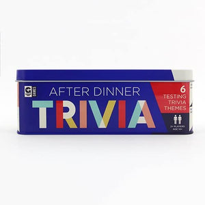 AFTER DINNER TRIVIA GAME TIN front side