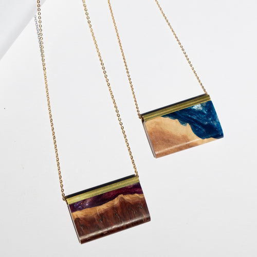 RECTANGLE RESIN + WOOD NECKLACE