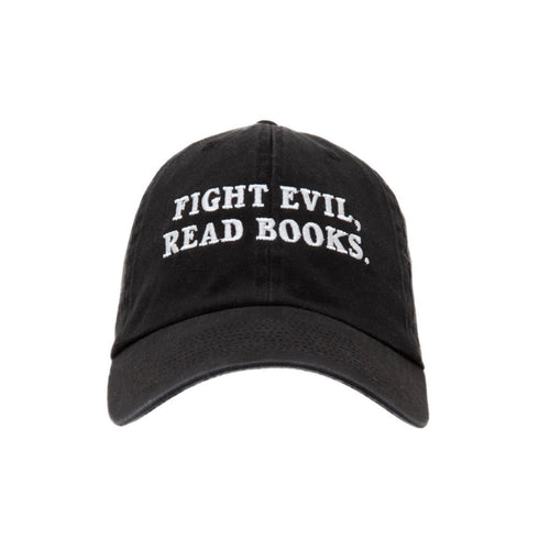 front of FIGHT EVIL READ BOOKS HAT
