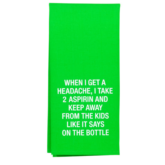 GREEN ASPIRIN DISH TOWEL