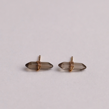 Load image into Gallery viewer, SMOKEY QUARTZ MINERAL POINT EARRINGS