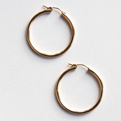 LARGE THICK HOOPS 14K GOLD FILL