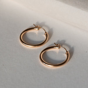 MEDIUM THICK HOOPS 14K GOLD FILL ALTERNATE VIEW