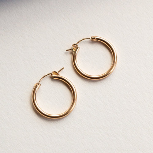 MEDIUM THICK HOOPS 14K GOLD FILL