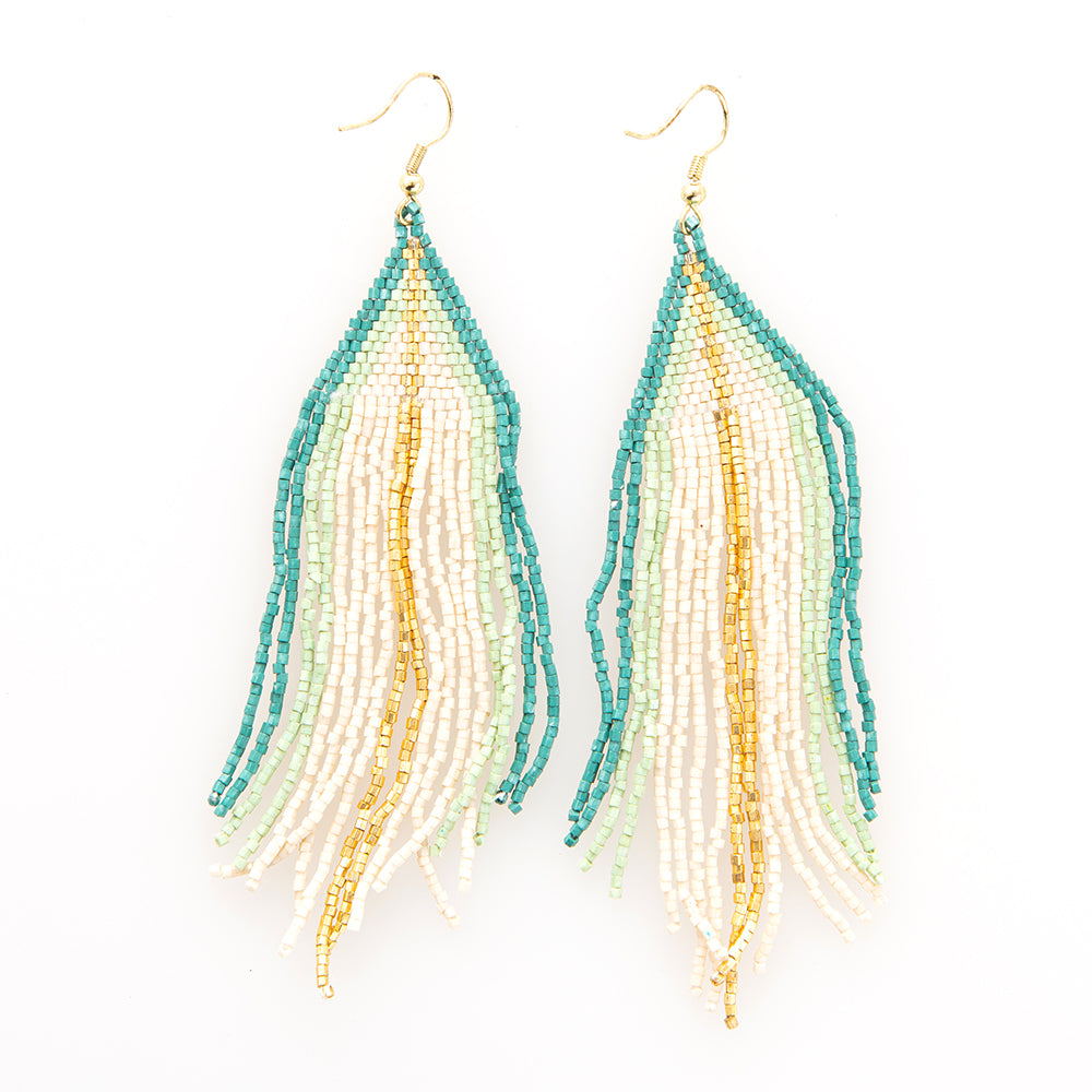 IVORY AND TEAL OMBRE LUXE EARRING