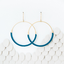 Load image into Gallery viewer, JADE MACRAME HOOP EARRINGS