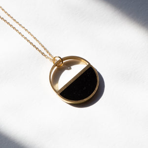 BLACK HALF MOON NECKLACE