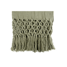 Load image into Gallery viewer, WOVEN THROW WITH FRINGE OLIVE CLOSE UP