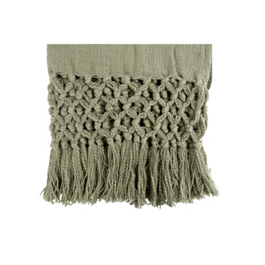 WOVEN THROW WITH FRINGE OLIVE CLOSE UP