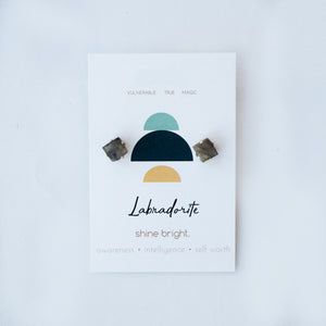 ROUGH CUT STUD EARRINGS | LABRADORITE
