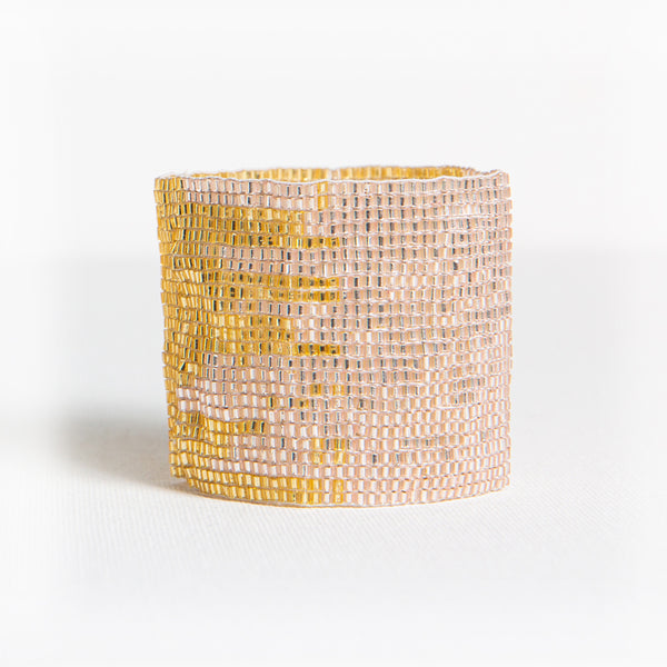 BEADED STRETCH BRACELET BLUSH/GOLD