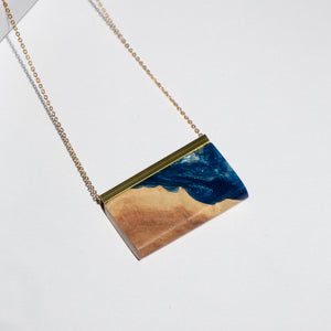 RECTANGLE RESIN + WOOD NECKLACE A