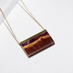RECTANGLE RESIN + WOOD NECKLACE B