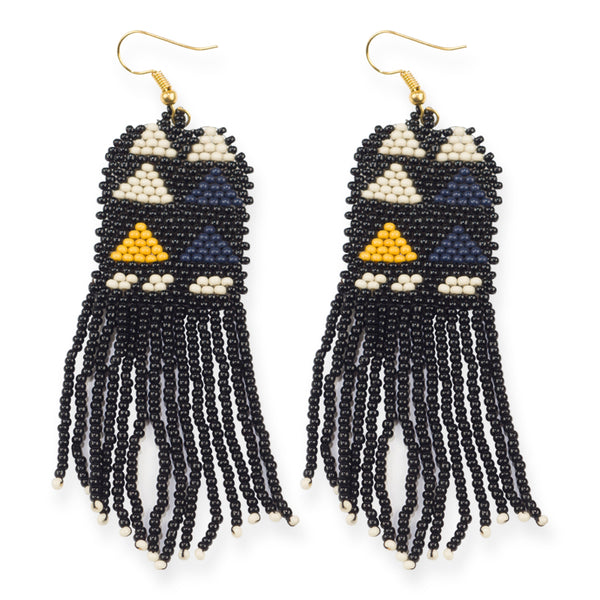 TINY TRIANGLE BEADED EARRINGS