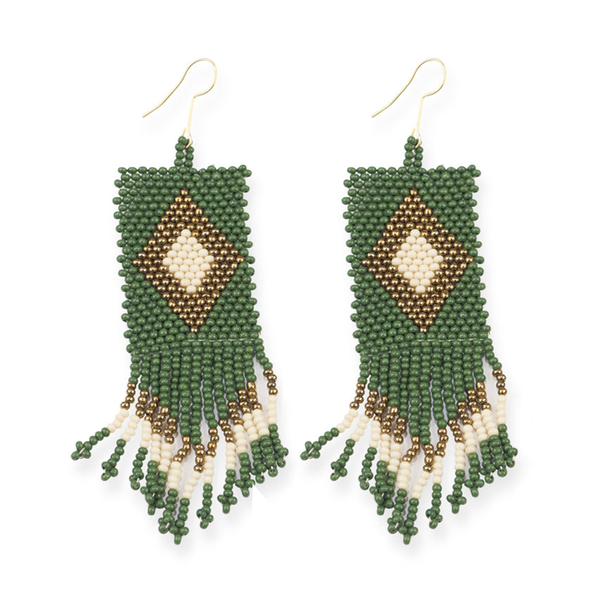 EMERALD AND GOLD SEED BEAD EARRINGS