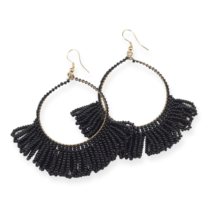 FRINGE SEED BEAD EARRINGS BLACK