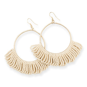 FRINGE SEED BEAD EARRINGS IVORY