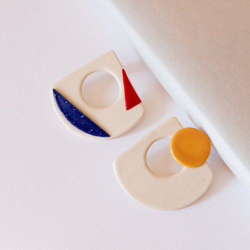 CERAMIC ABSTRACT SEERS EARRINGS