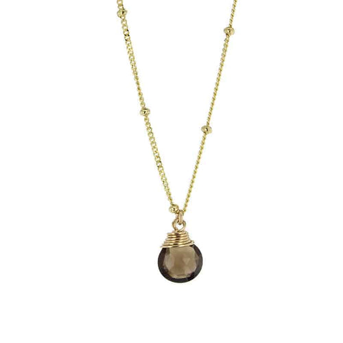 smokey quartz gemstone necklace