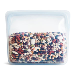 STAND UP BAG STASHER CLEAR FILLED WITH BEANS