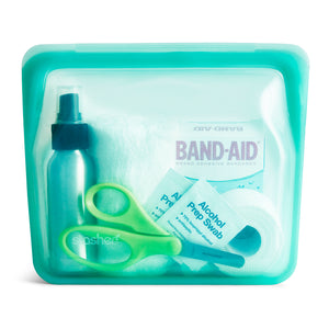 STAND UP BAG STASHER AQUA FILLED WITH FIRST AID KIT