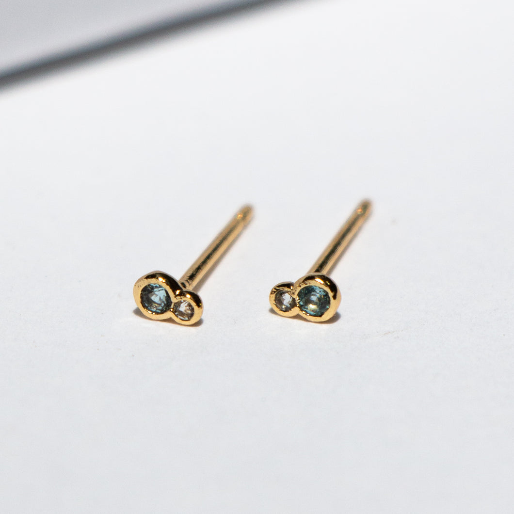 TOPAZ AND CZ POST EARRINGS
