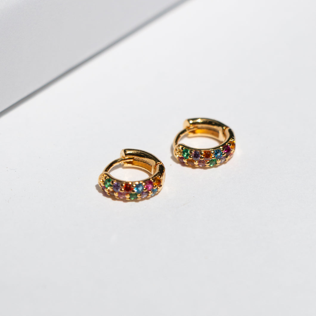 SMALL DOUBLE RAINBOW HUGGIE EARRINGS