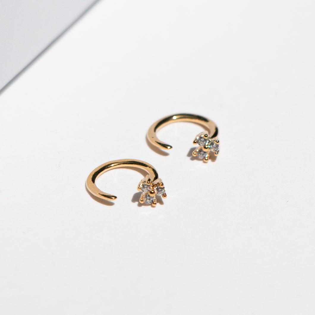 TRIPLE SET CZ HUGGIE EARRINGS