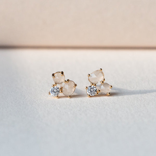 cluster cz post earrings