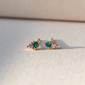 mini opal and cz post earrings