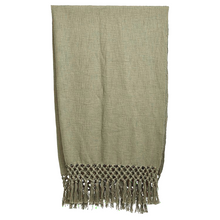 Load image into Gallery viewer, WOVEN THROW WITH FRINGE OLIVE