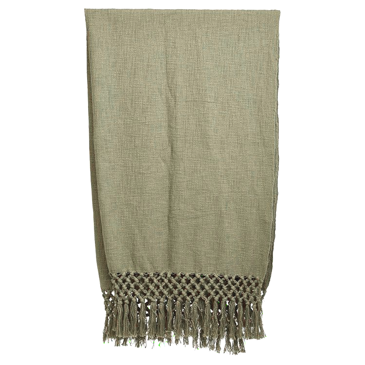 WOVEN THROW WITH FRINGE OLIVE