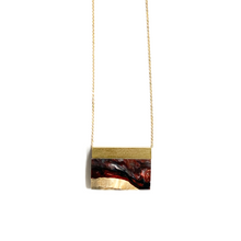 Load image into Gallery viewer, SMALL RECTANGLE WOOD & RESIN NECKLACE