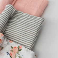 Load image into Gallery viewer, WATERCOLOR ROSE SWADDLE 3-PACK CLOSE UP