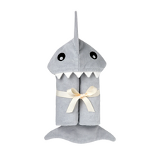 Load image into Gallery viewer, BABY SHARK HOOD BATH WRAP ROLLED UP