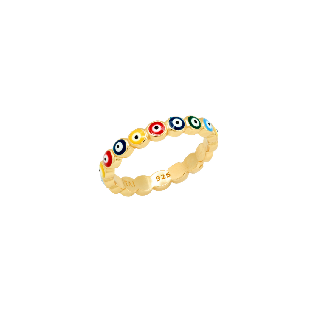 MULTICOLOR ENAMEL EVIL EYE RING