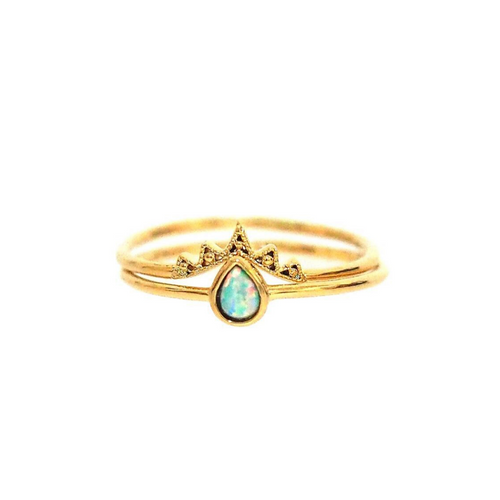 MINI TEARDROP CROWN RING SET