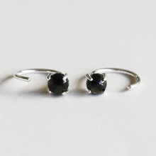 Load image into Gallery viewer, OBSIDIAN HUGGIE EARRINGS SILVER