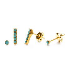 Load image into Gallery viewer, VICTORIAN STUDS EARRING SET turquoise side view