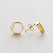 Load image into Gallery viewer, HEXAGON STUD EARRINGS  SIDE VIEW