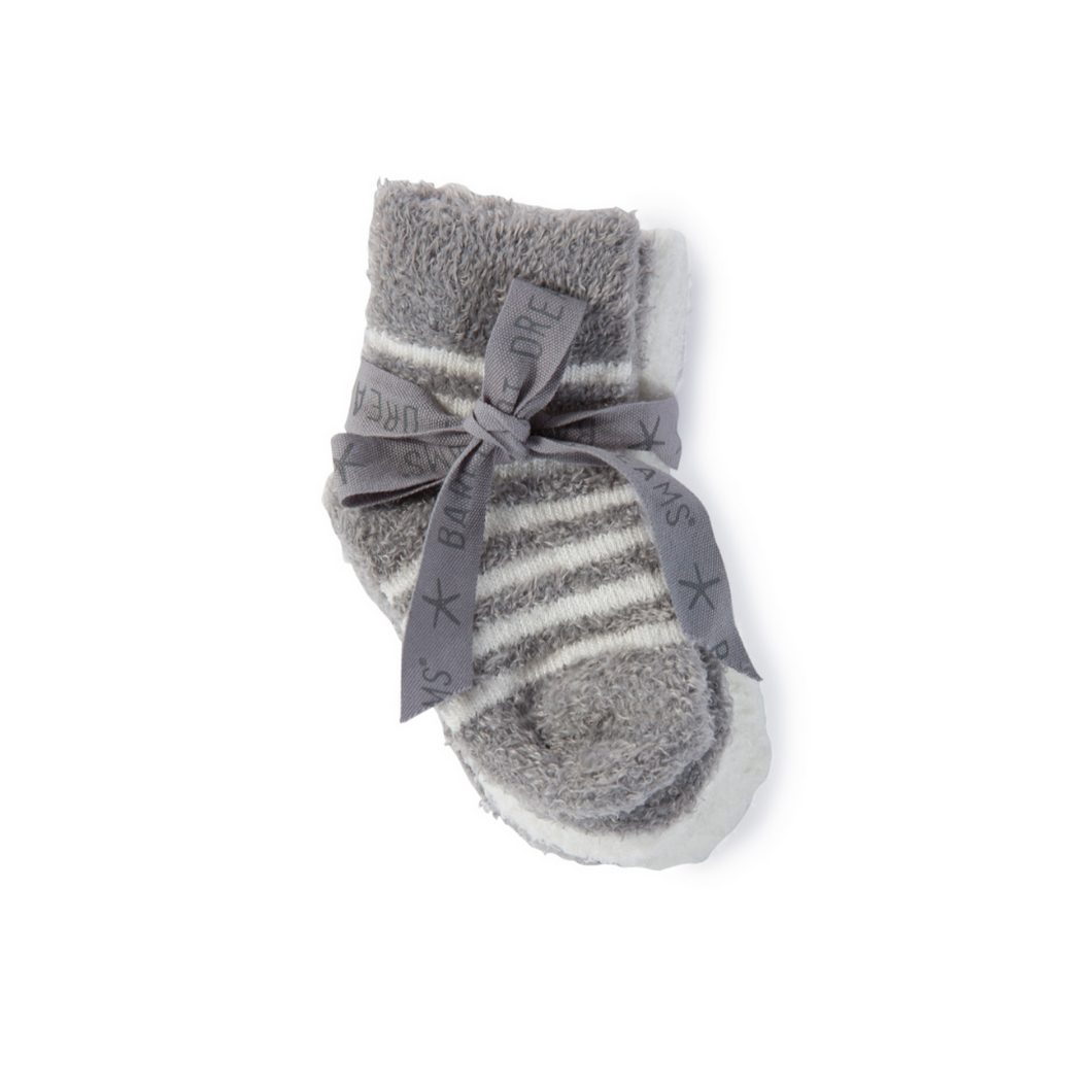 COZY CHIC INFANT SOCKS 3-PACK | PEWTER WITH BOW