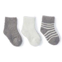 Load image into Gallery viewer, COZY CHIC INFANT SOCKS 3-PACK | PEWTER 3 STYLES