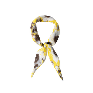 GOLDEN FLORAL HAIR SCARF TIED AS BANDANA