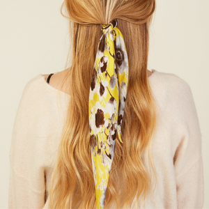 MODEL WEARING GOLDEN FLORAL HAIR SCARF ALTERNATE