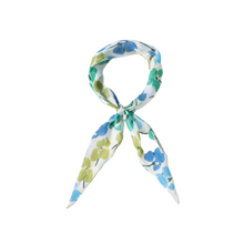 Load image into Gallery viewer, GREEN FLORAL HAIR SCARF TIED AS BANDANA