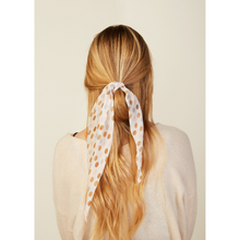 Load image into Gallery viewer, MODEL WEARING POLKA DOT FLORAL HAIR SCARF ALTERNATE WAY
