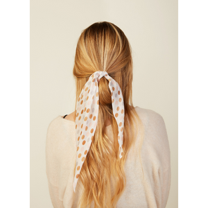 MODEL WEARING POLKA DOT FLORAL HAIR SCARF ALTERNATE WAY